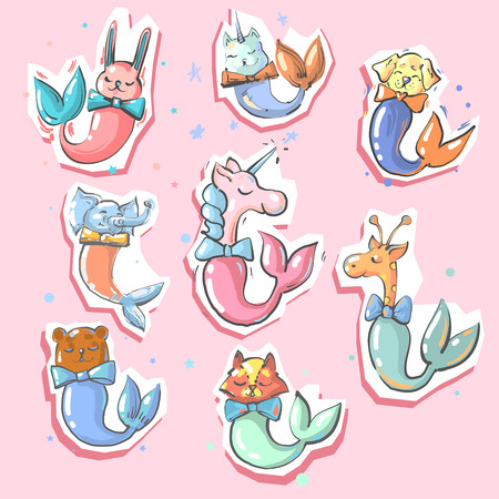 Cute animals with fish mermaid tails 8 stickers Иллюстрация