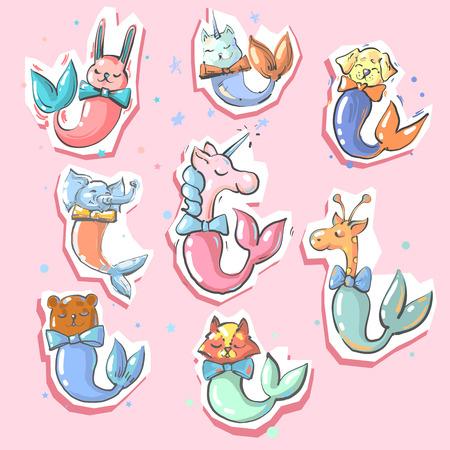 Cute animals with fish mermaid tails 8 stickers Ilustração