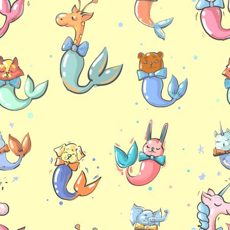Mermaid cute funny childish animals seamless pattern.