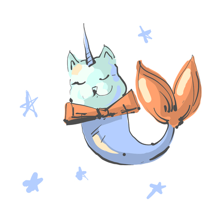 Fun magic cat unicorn and mermaid. Vector cartoon character. Editable vector illustration. Ilustração