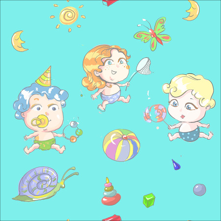 seamless pattern with cartoon cute kids on playground Иллюстрация