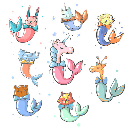 Cute animals with mermaid tails vector collection Иллюстрация