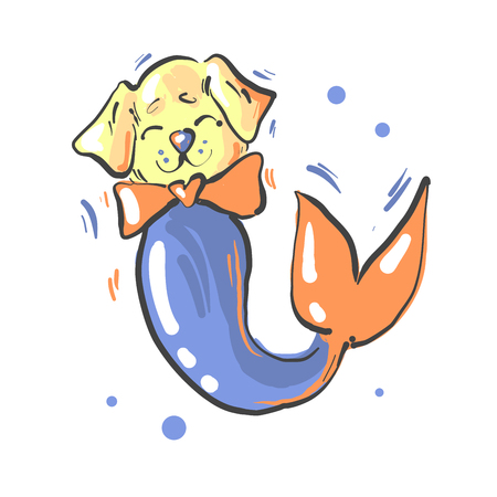 Cute dog with bow and mermaid fish tail fantasy illustration Illustration
