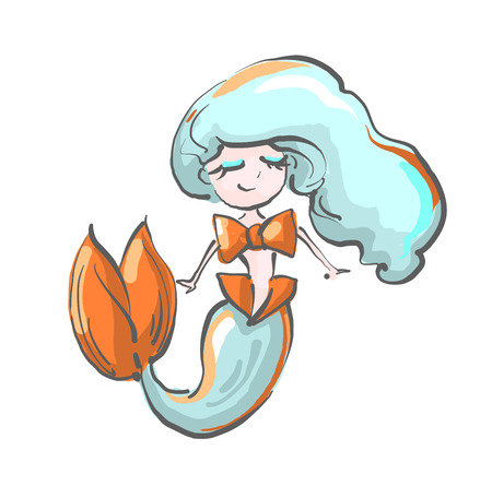 Happy little mermaid with blue hair and bow .
