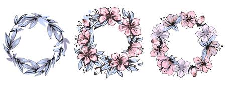 Vintage floral frame set with leaves and flowers motives. Vector illustration.