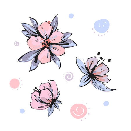 Vector spring blossom - pink flower set. Flower and bud illustrations