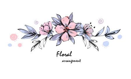 Tender floral arrangement. Pink apple tree flowers with leaves. Vector romantic garden flowers. Ilustração