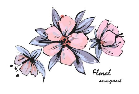 Tender floral arrangement. Pink apple tree flowers. Vector romantic garden flowers.