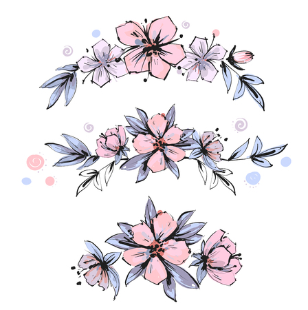 Set of the floral arrangements. Pink apple tree flowers with leaves. Vector romantic garden flowers. Illustration