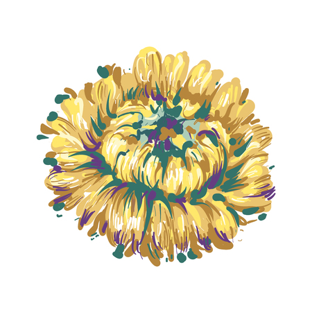 Luxurious decorative vector yellowAster flower for floral decoration, embroidery