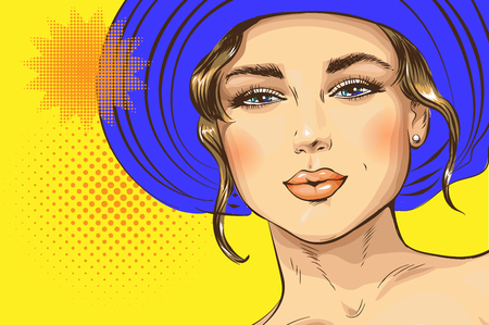 Vector pop art pin up illustration of a girl in a luxurious hat. Excellent poster for advertising discounts and sales in the style of pop art