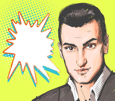 Pop art man. Young handsome man portrait. Vector illustration in retro comic style. Vector pop art background.