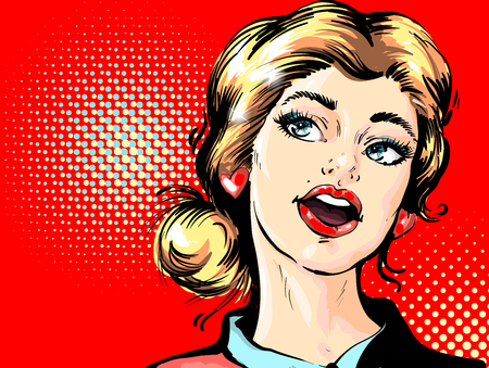 Wow female face. Sexy surprised young woman with open mouth and blond hair. Party invitation poster.