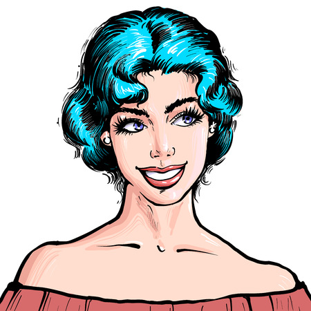 Portrait of a young beatiful woman with short blue hair and attractive smile illustration in pop art retro comic style on white background Imagens - 124947982