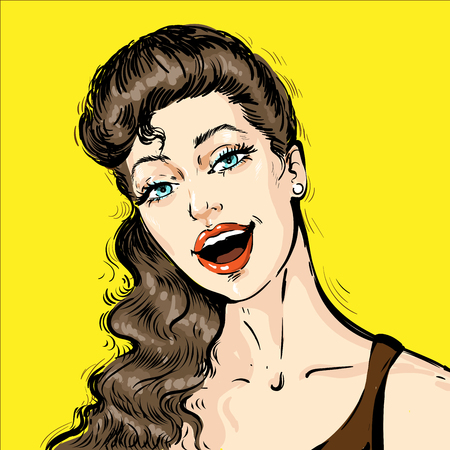 Portrait of a beautiful young woman with open mouth talking . Pop art comic retro vector illustration cartoon vintage kitsch style Ilustração