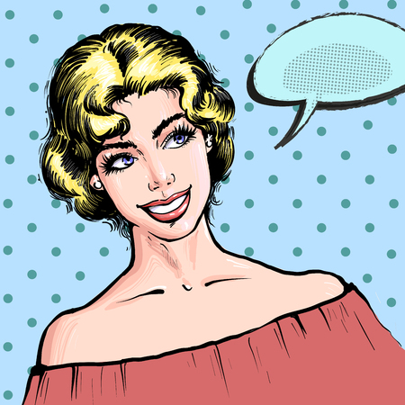 Beautiful blond young woman smiling , pop art retro comic style vector illustration of a gil with speech bubble on a dot halftone background for invitations, advertisement, news, certificates Banco de Imagens - 124947998