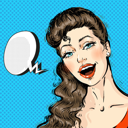Portrait of a young beautiful Woman Face with long hair Comic with Speech Bubble, Pop Art Style Ilustração