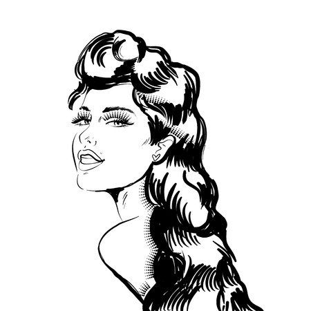 Beautiful woman looks back. Illustration in engraving style. Monochrome image.