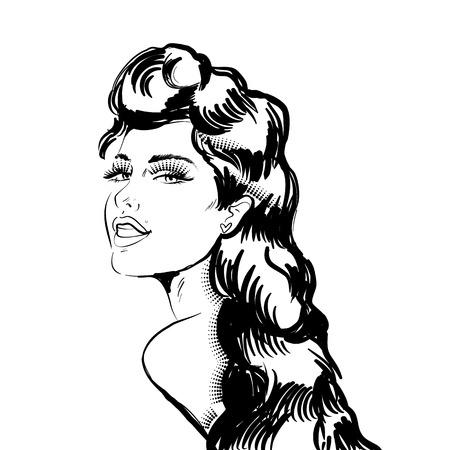 Schöne Frau schaut zurück. Illustration im Gravurstil. Monochromes Bild.