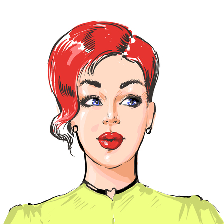 Woman with short hairstyle, young beautiful stylish girl with red hair and bright make up Иллюстрация