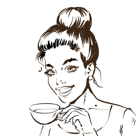Black and white sketch line drawing. Portrait of a woman with cup of tea or cofee. Vector illustration.