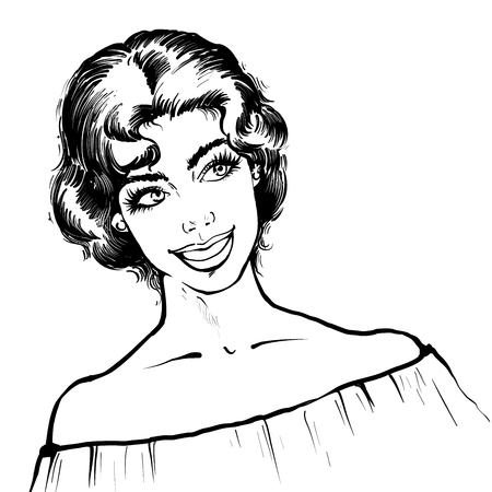 Portrait of a retro young beatiful woman with short curcly hair and attractive smile illustration , black and white line inky style sketch