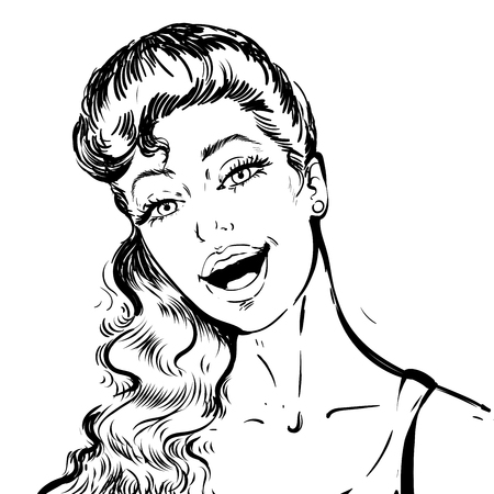 Portrait of a beautiful young woman with open mouth talking . Black and white sketch portrait Иллюстрация