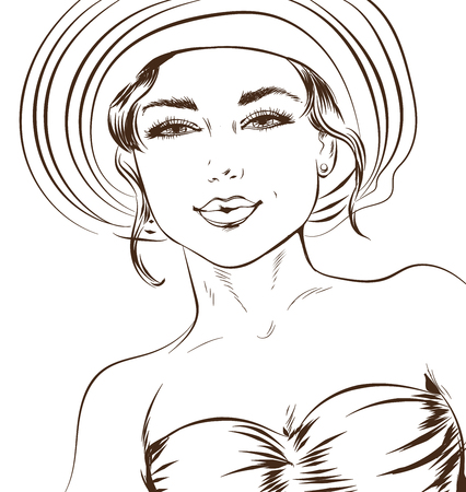 Vector sketchy line art illustration of a sexy girl in a luxurious hat. Excellent poster for advertising discounts and sales and coloring
