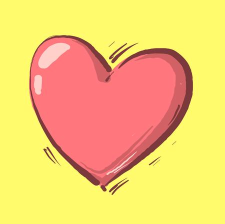 Cartoon Heart on yellow background , heart symbol vector illustration