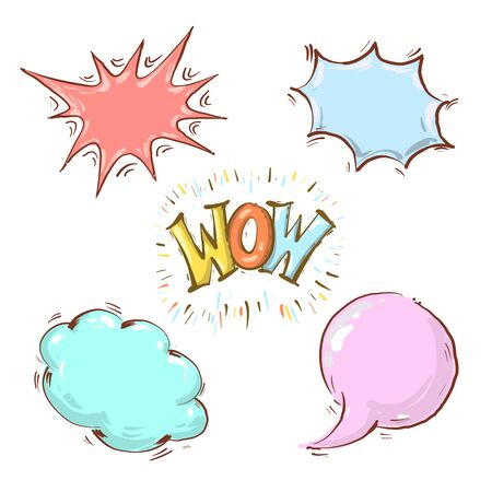Comics cartoon empty speech Bubbles with phrase WOW, create your own design Illustration