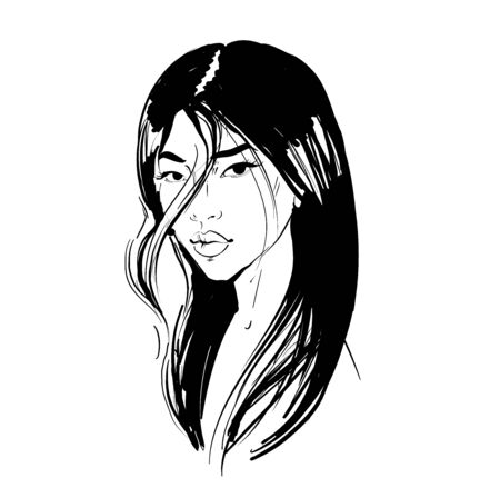 Young Asian girl with black long hair. Fashion vector illustration isolated on white. Can be used as a face chart or for hairdressers Skincare, professional hairdressing, beauty salon