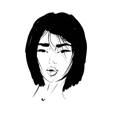 Asian woman portrait. Fashion illustration. Haircut BOB STRAIGHT. Hand drawn vector art isolated on white. Can be used as a face chart or for hairdressers.