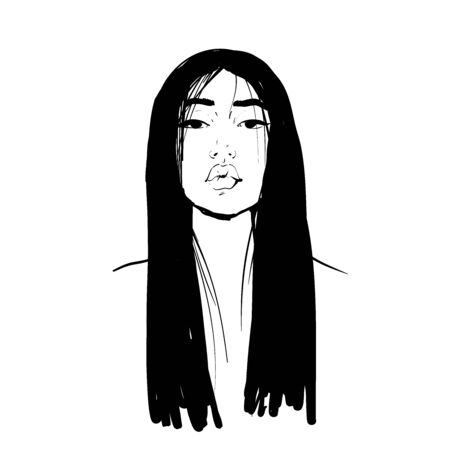 Young Asian beauty woman with black long hair. Fashion vector illustration isolated on white. Can be used as a face chart or for hairdressers Skincare, professional hairdressing, beauty salon