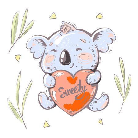 Cute baby Koala Bear holding red heart with word sweety, eucaliptus leaves