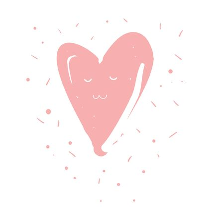 Cute pink kawaii heart with closed eyes vector children card, element or fashion print