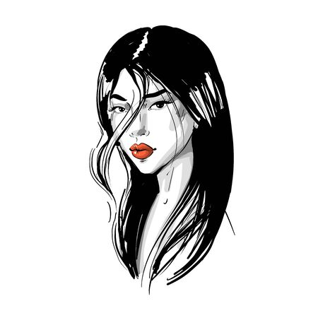 Young Asian girl with red lips and long hair. Fashion vector illustration isolated on white. Can be used as a face chart or for hairdressers Skincare, professional hairdressing, beauty salon