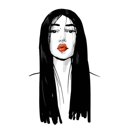 Young Asian beauty woman with red lips black long hair. Fashion vector illustration isolated on white. Can be used as a face chart or for hairdressers Skincare, professional hairdressing, beauty salon