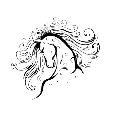 Hand drawing Unicorn for adult anti stress coloring pages, artistic fairy tale magic animal, vector tattoo. Fashion print.