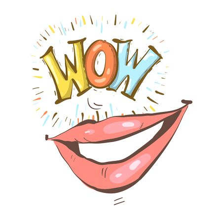 Sexy open female mouth smiling and Wow speech bubble. Vector bright background in comic retro pop art style.