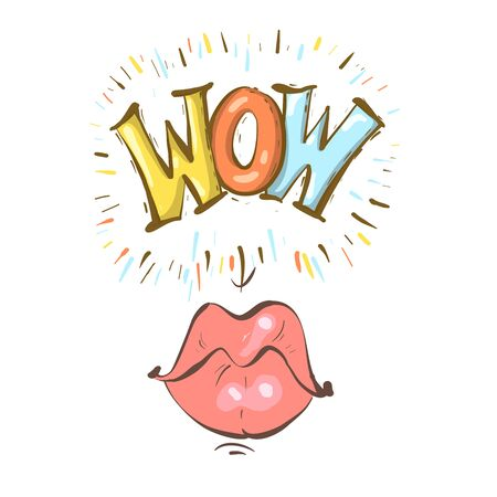 Mouth with speach bubble. Wow and female lips in sketchy cartoon style concept for advertising or poster. Vector illustration Stock Illustratie