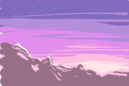 Vector of sunrise or sunset winter landscape on mountains