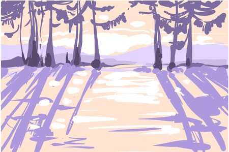 Sunny fairy frosty winter forest with mistery light, shadows, sullen winter forest Illusztráció