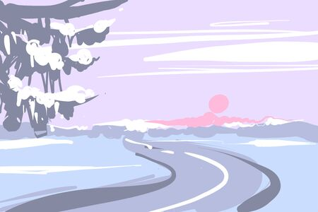 A Winter Landscape with Snow and Road