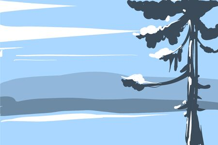 Vector illustration Winter landscape sketch with christmas tree mountains and forest