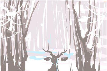 Winter landscape sketch with deer vector illustration. Stock Illustratie