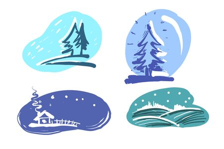 Winter landscape set with a house, forest, christmas tree and snowfall. Vector Illustration Stock Illustratie