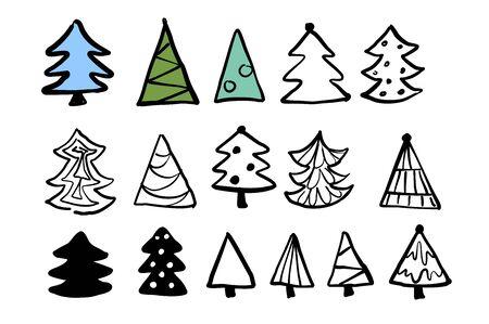Vector christmas trees cute hand drawn design set Stock Illustratie