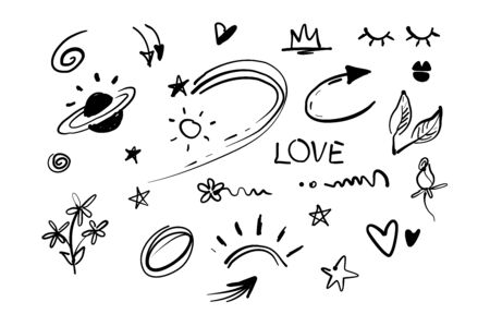 Hand drawn doodle swishes, swoops, emphasis vector set. Collection of black and white highlight text elements, calligraphy swirl, tail, flower, heart, graffiti crown etc