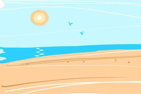 Sea summer landscape. Ocean, blue waves, sky, beach, horizon and sun. Vector illustration of a square format background. Stock Illustratie