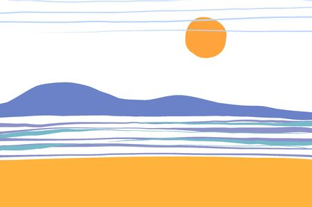 Sea summer abstract landscape. Ocean, blue waves, sky, beach, horizon and sun. Vector illustration of a square format background.